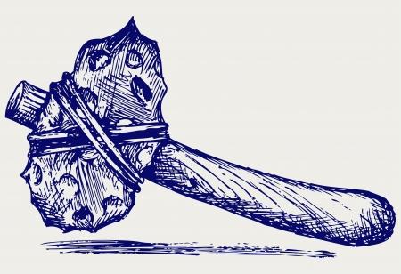 stone age: Primitive hammer. Doodle style Illustration