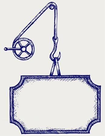 pulley: Hook of a crane and banner. Doodle style Illustration