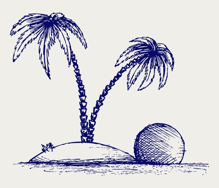 Island palm. Doodle style Vector