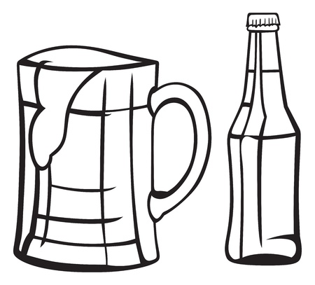 Jug and bottle of light beer Vector
