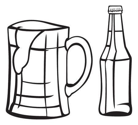 un bottled: Jug and bottle of light beer Illustration