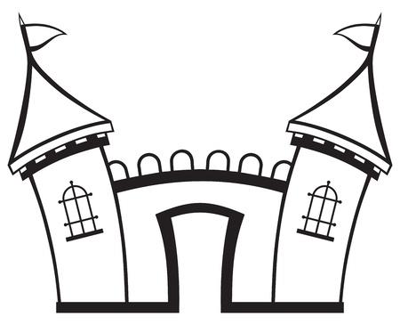turret: Icon castle isolated on white background