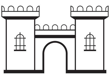 gothic castle: Icono castillo aislado en el fondo blanco Vectores