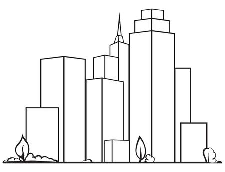 black pictogram: Urban cityscape isolated on white background