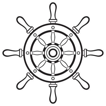 marinha: Silhueta leme isolado no fundo branco