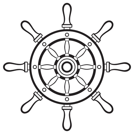 helm boat: Timón Silueta sobre fondo blanco