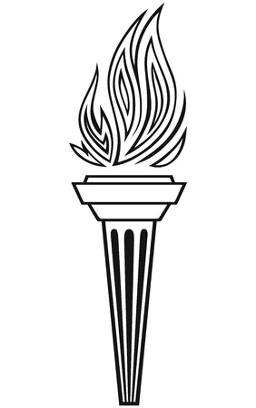 flaming: Symbol torch isolated on white background Illustration