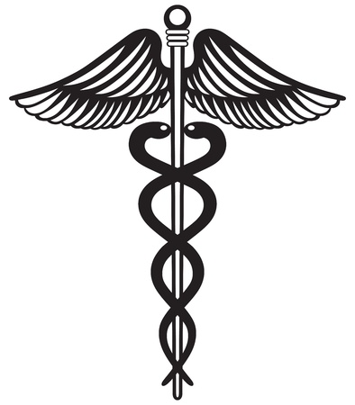 Symbol medical caduceus isolated on white background Vector