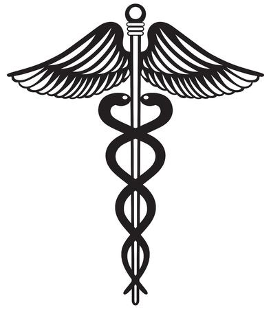 Symbol medical caduceus isolated on white background