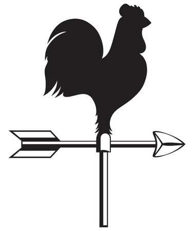 Rooster weather vane isolated on white background Vector