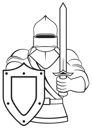 crusader: Medieval knight isolated on white background Illustration