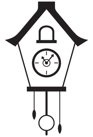 stencil art: Cuckoo clock isolated on white background