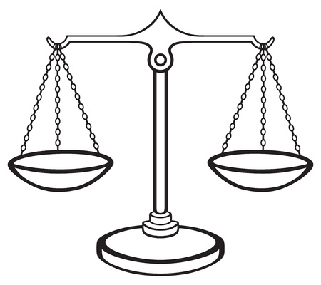 truthfulness: Scales of Justice isolated on white background