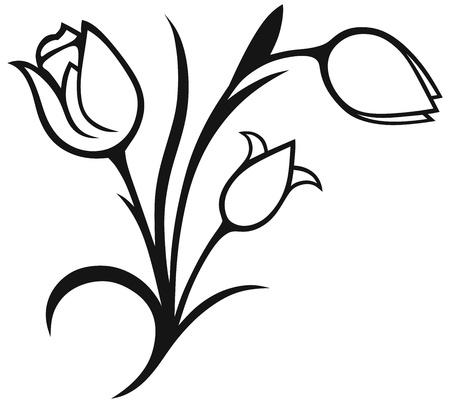 흰색 배경에 실루엣에 고립 된 튤립 꽃다발