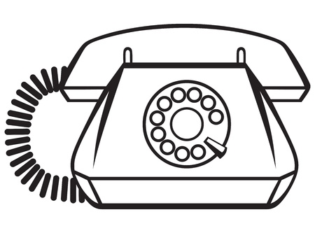 dialplate: Old Phone isolated on white background  Silhouette Illustration