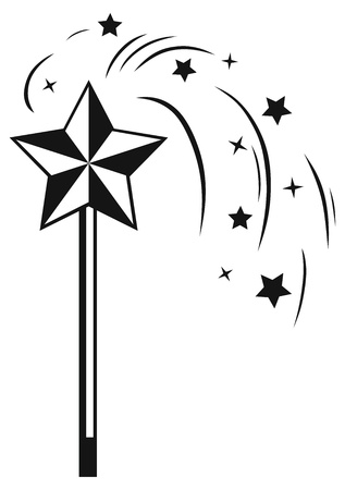 star wand: Magic wand isolated on white background  Silhouette Illustration