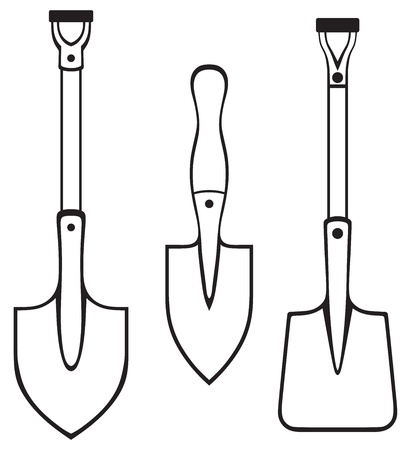 unearth: Shovels and spades isolated on white background  Silhouettes