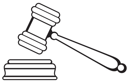 veiling: Rechter hamer op een witte achtergrond Silhouet