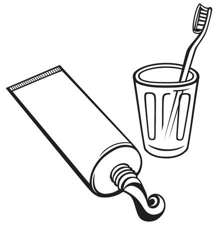 pasta dental: Pasta de dientes y cepillo de dientes aislados sobre fondo blanco Vectores