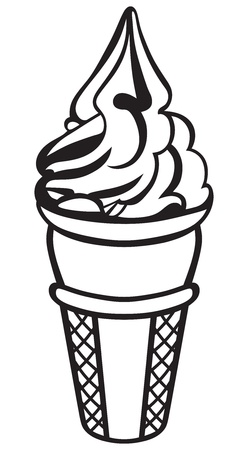 black and white cone: Ice cream isolated on white background Illustration