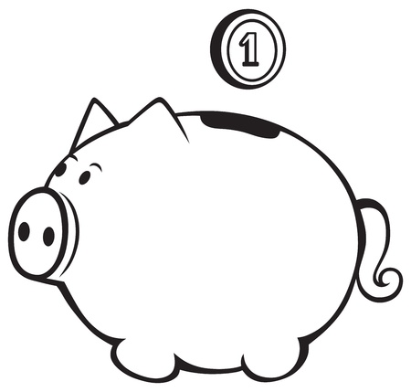 Piggy bank isolated on white Vector