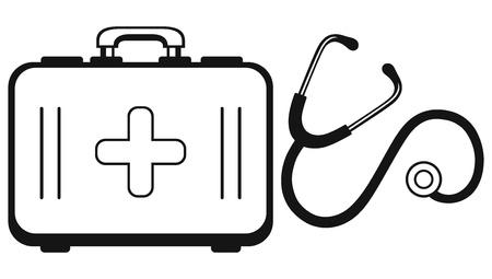 botiquin de primeros auxilios: Concepto de medicina Estetoscopio y botiquín Vectores