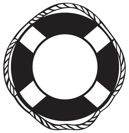 白で隔離されるシンボル救命浮輪