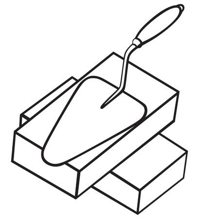 brick and mortar: Symbol brick and trowel Illustration