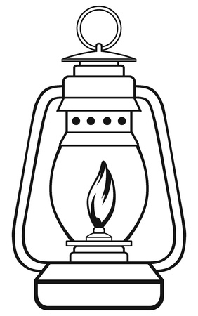 kerosene lamp: Symbol old dusty oil lamp