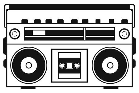 Retro ghetto blaster isolated on white background Çizim