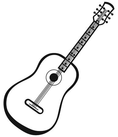 guitar pick: Guitar isolated on white background Illustration