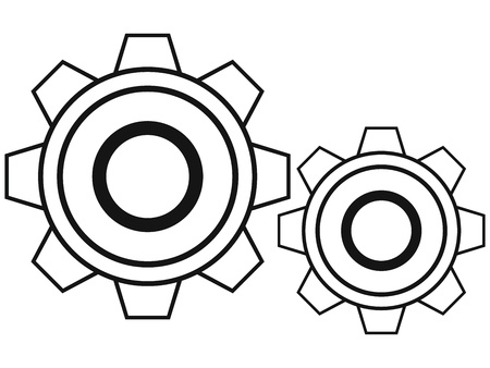 clip art draw: Black cogs isolated on white background