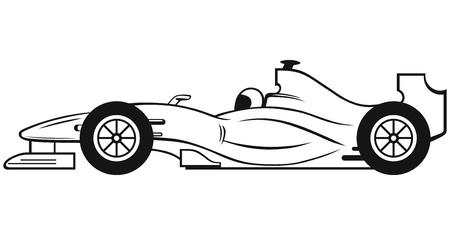 zeichnen: Formel-1-Rennwagen auf weißem Hintergrund Illustration