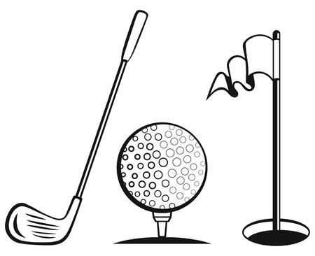 sward: Golf set di icone bandiera golf, palla da golf e golf bastone