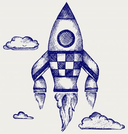 satellite launch: Retro rocket  Doodle style