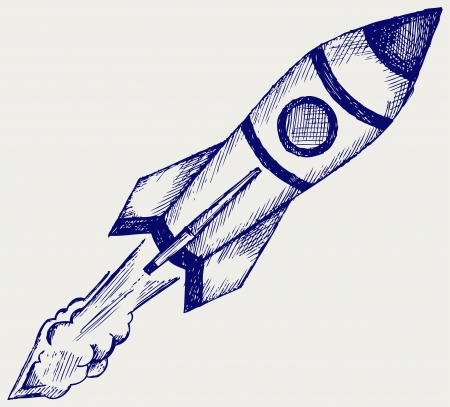 Retro rocket  Doodle style Vector