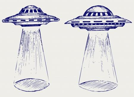 Raum fliegende Untertasse Doodle Stil Standard-Bild - 20543997
