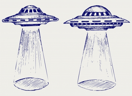 flying object: Space flying saucer  Doodle style