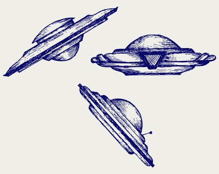 Space flying saucer  Doodle style