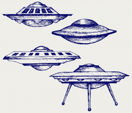 Space flying saucer  Doodle style Vector