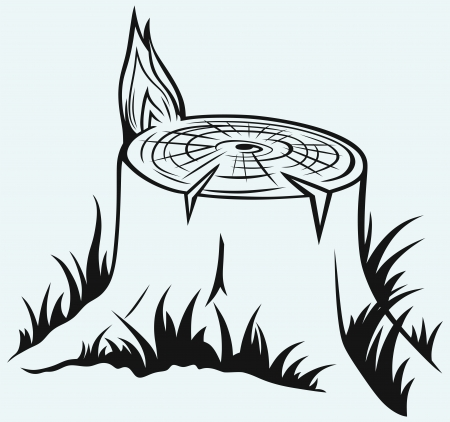 stump: Old tree stump isolated on blue background Illustration