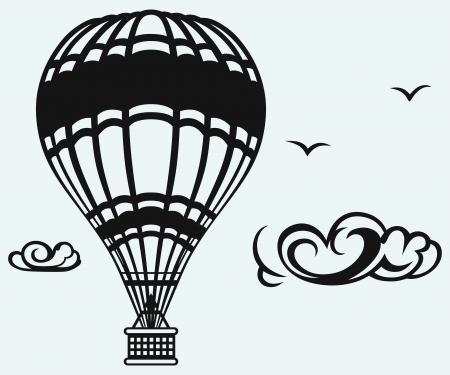 inflar: Globo de aire caliente en el cielo sobre fondo azul Vectores