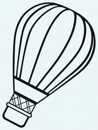 inflate: Hot air balloon in the sky isolated on blue background