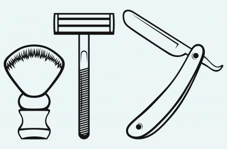 peluquero: Navaja de afeitar y brocha de afeitar aislados sobre fondo azul