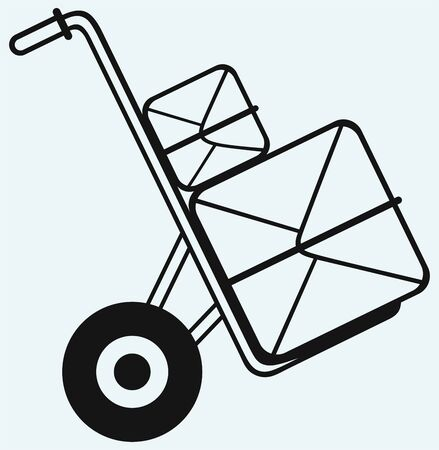 e commerce icon: Shopping cardboard box on sack truck isolated on blue background