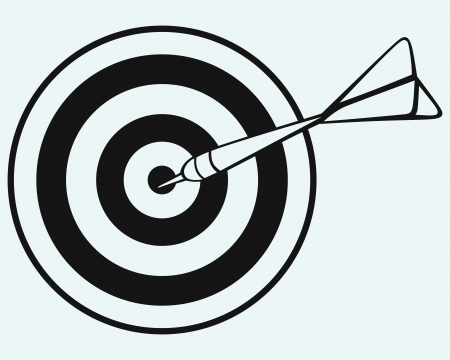dart on target: Target and arrows isolated on blue background