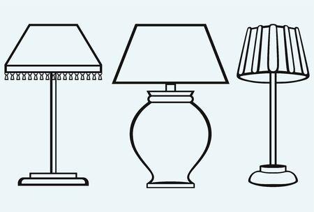 arredamento classico: Reading-lampada isolato su sfondo blu Vettoriali