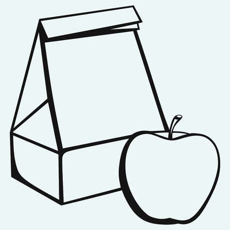 Paper bag and apple isolated on blue background Illustration