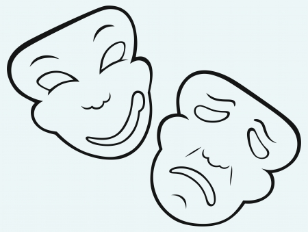 comedy tragedy: Comedy and Tragedy theatrical mask Illustration