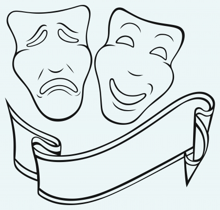tragedy mask: Comedy and Tragedy theatrical mask Illustration